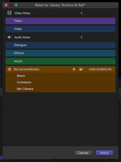 El nuevo cuadro de diálogo para editar los roles permite también elegir el color que lo representa.