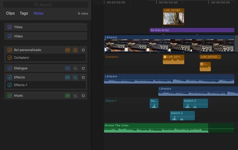 Una vista de los Audio Lanes.